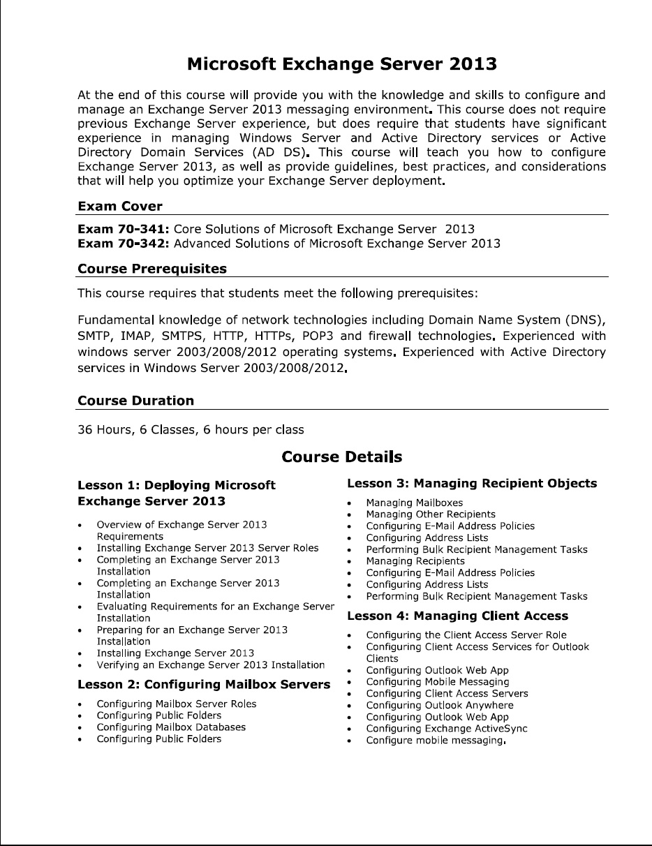 Institute of professional learning ipl course details of mcse 2013 exchange server 1betcityfo Images